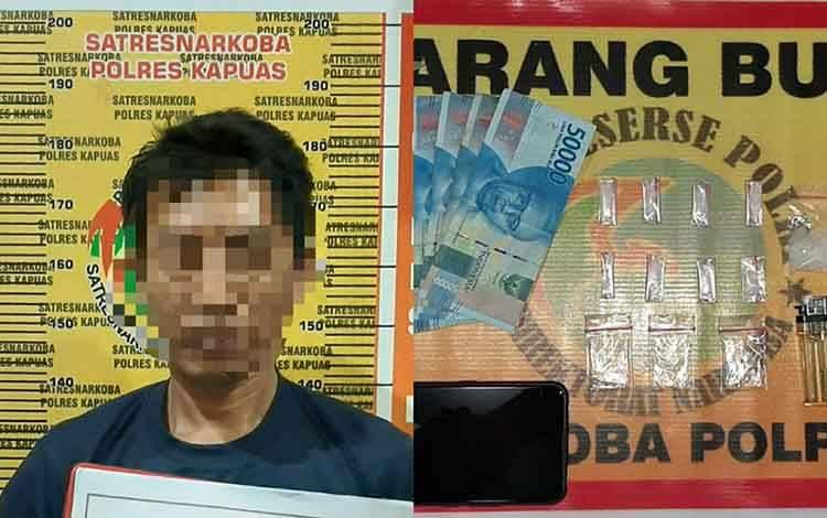 Tersangka kasus kepemilikan sabu dan barang bukti saat diamankan Satresnarkoba Polres Kapuas.