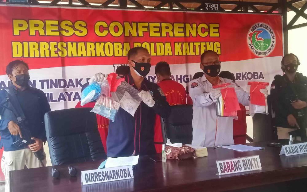 Ditresnarkoba Polda Kalteng saat menggelar press release pengungkapan tindak pidana narkoba