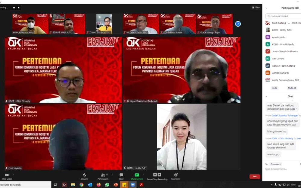 Pertemuan FKIJK Kalimantan Tengah secara virtual menggunakan media zoom.