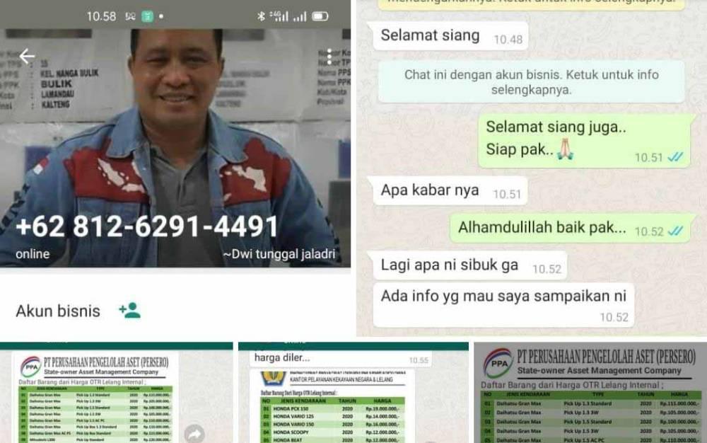 Tangkapan layar percakapan pelaku penipuan saat menjalankan aksinya dengan mencatut nama Kapolresta Palangka Raya.