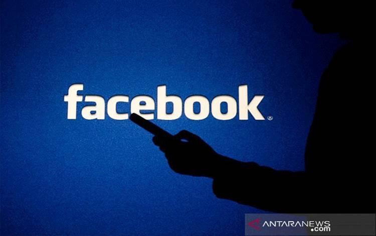 Ilustrasi - Seorang wanita melihat ke dalam smartphone di depan logo Facebook. (ANTARA/Shutterstock/pri.)