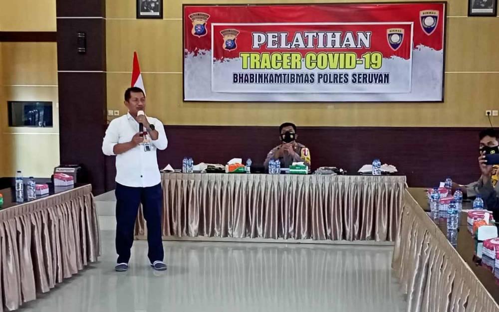 Pelatihan tracer covid-19 untuk Bhabinkamtibmas Polres Seruyan, Rabu, 24 Februari 2021.