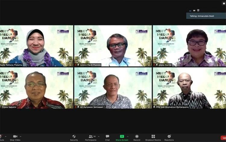 Taklimat media dengan manajemen PPM Manajemen secara daring, beberapa waktu lalu. (ANTARA/Indriani)