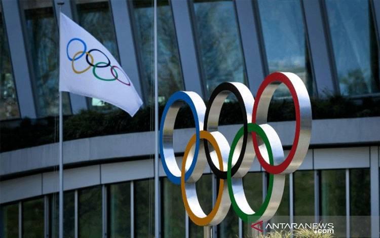 Logo Komite Olimpiade Internasional (IOC). ANTARA/AFP/Fabrice Coffrini/pri.
