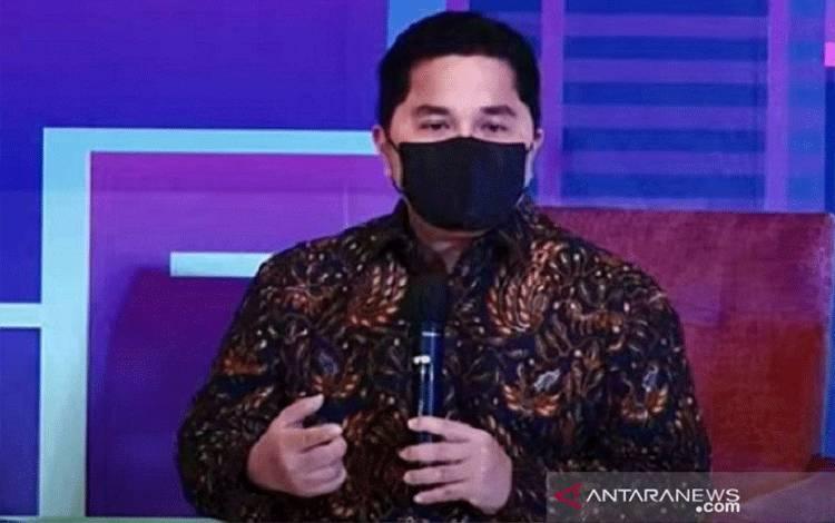 Tangkapan layar - Menteri BUMN Erick Thohir dalam Rakernas HIPMI di Jakarta, Jumat (5/3/2021). ANTARA/Tangkapan layar Youtube HIPMI TV/pri.