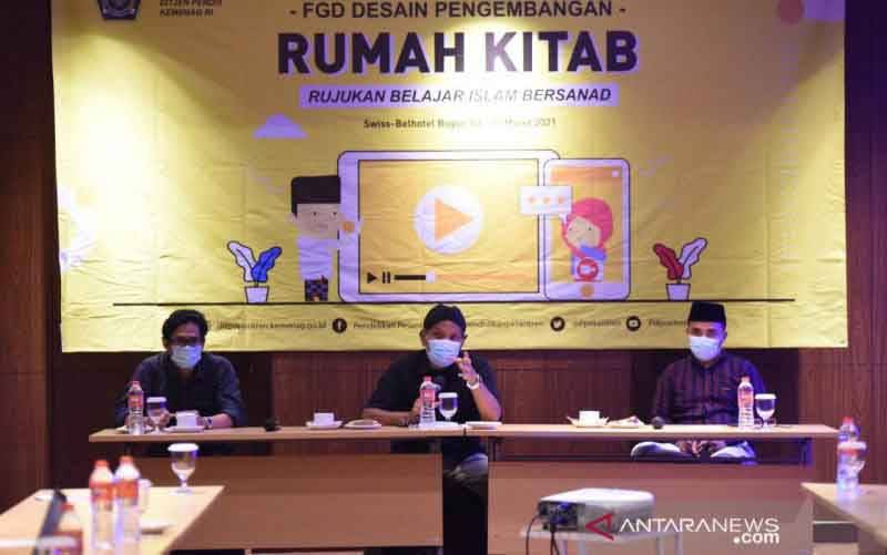 Forum diskusi sedain pengembangan Rumah Kitab yang diselenggarakan di Bogor, Jawa Barat, Jumat (5/3/2021). (foto : ANTARA/HO-Kemenag)
