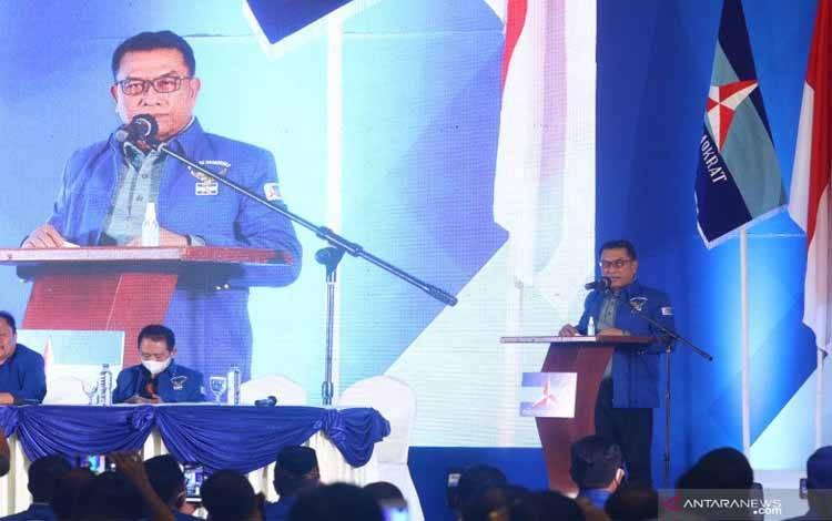 Moeldoko menyampaikan pidato perdana saat Kongres Luar Biasa (KLB) Partai Demokrat di The Hill Hotel Sibolangit, Deli Serdang, Sumatera Utara, Jumat (5/3/2021)