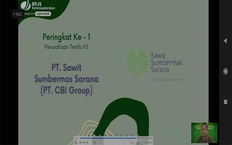 PT Sawit Sumbermas Sarana dalam PT Citra Borneo Indah atau CBI Group menerima penghargaan sebagai Peringkat Ke-1 Penghargaan sebagai Perusahaan Tertib K3