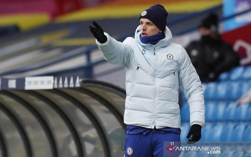 Ekspresi manajer Chelsea Thomas Tuchel saat mendampingi timnya menghadapi Leeds United dalam lanjutan Liga Inggris di Stadion Elland Road, Leeds, Inggris, Sabtu (13/3/2021). (foto : ANTARA/REUTERS/POOL/Lee Smith)