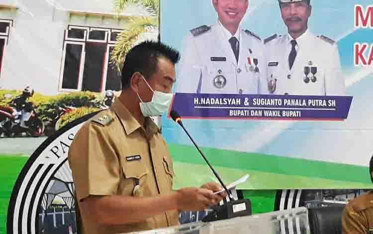 Wakil Bupati Barito Utara, Sugianto Panala Putra saat membacakan stressing Bupati Barito Utara pada kegiatan Musrenbang RKPD tahun 2022.