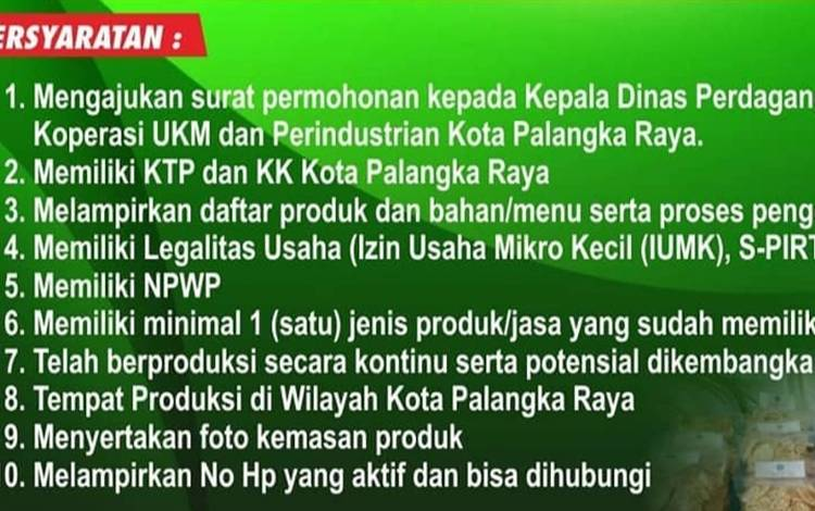 Syarat pendaftaran sertifikasi halal produk UMKM di Palangka Raya