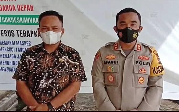 Ketua DPRD Barito Timur Nur Sulistio bersama Kapolres Barito Timur AKBP Afandi Eka Putra.
