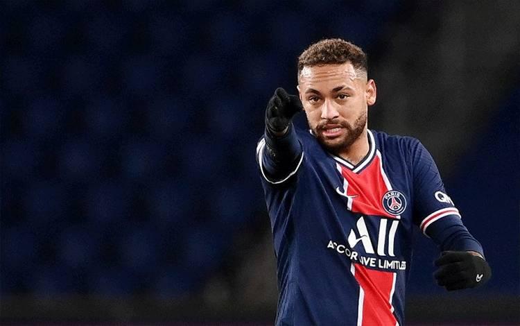Foto arsip 22 Januari 2021 ketika Neymar bertanding membela Paris Saint-Germain melawan Montpellier di Stadion Parc des Princes, Paris. (AFP/FRANCK FIFE)