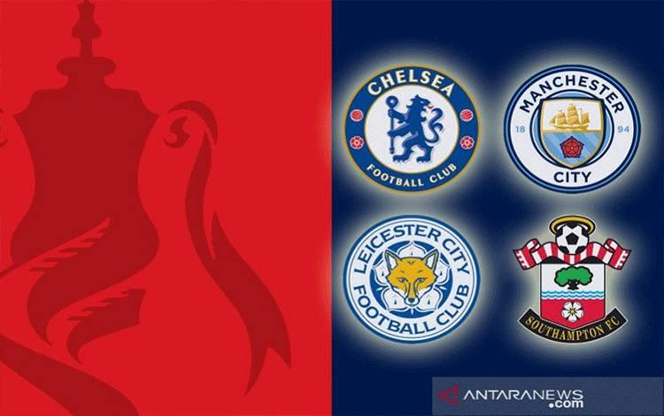 Hasil undian semifinal Piala FA 2020/21 yang mempertemukan Chelsea kontra Manchester City dan Leicester City melawan Southampton. (ANTARA/Gilang Galiartha)