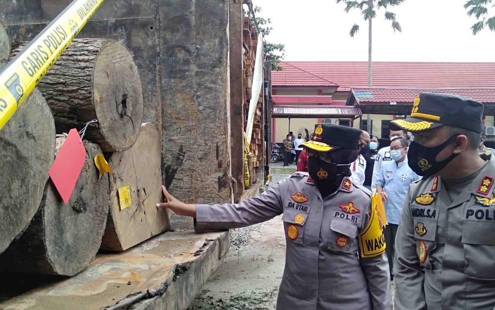 Wakapolda Kalteng Brigjen Ida Utari Purnamasasi mengecek barang bukti pengungkapan ilegal logging di Polres Katingan