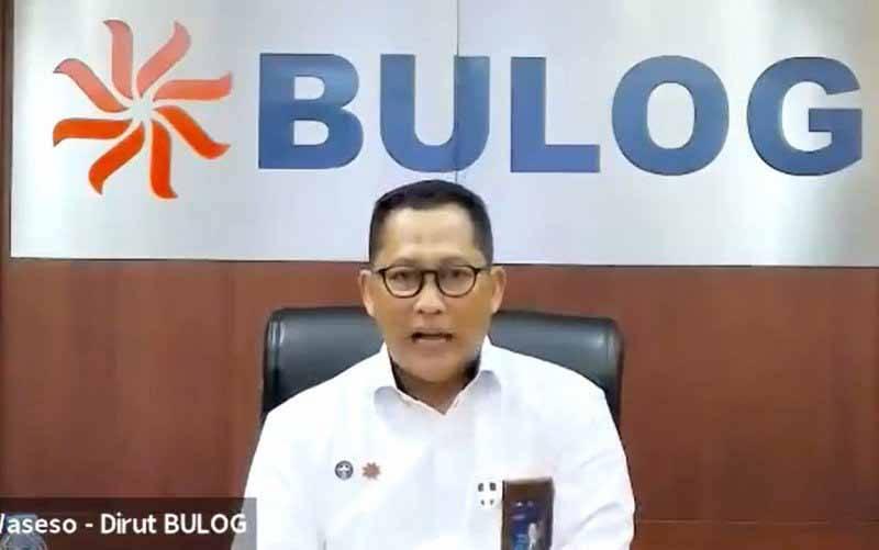 Tangkapan layar Direktur Utama Perum Bulog Budi Waseso memberikan keterangan pers secara daring mengenai stok beras kepada wartawan di Jakarta, Senin (29/3/2021). (foto : ANTARA/Aditya Ramadhan)
