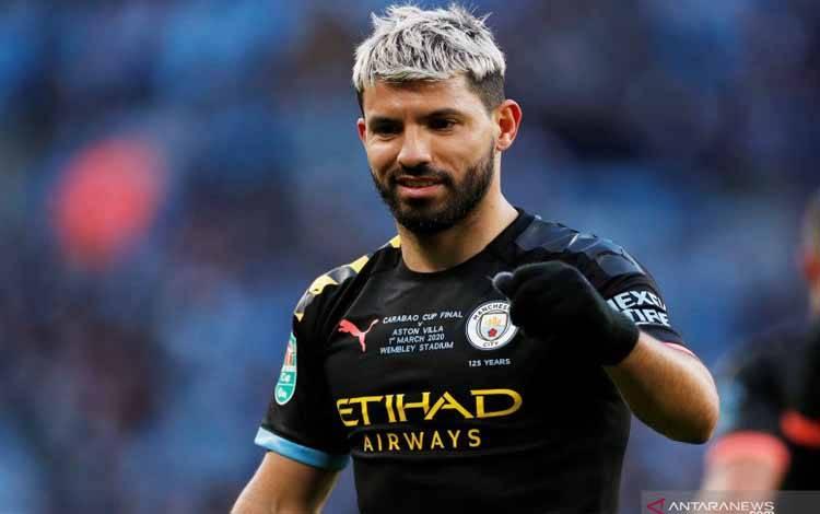Foto arsip 1 Maret 2020 ketika Sergio Aguero dalam laga Aston Villa vs Manchester City di Wembley Stadium, London