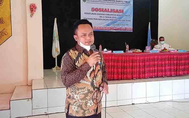 Ketua DPRD Barito Timur, Nur Sulistio saat sosialisasi Perda Nomor 5 tahun 2019, Rabu, 31 Maret 2021.