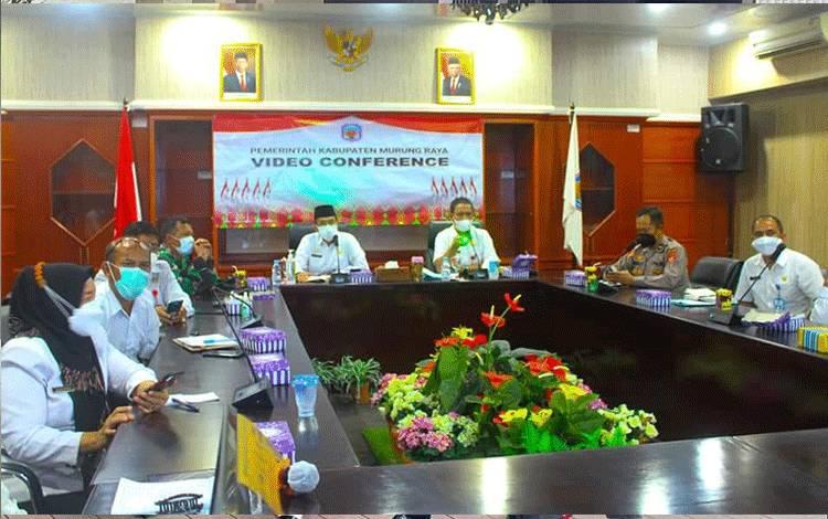 Rapat virtual rencana sekolah tatap muka yang diikuti Pemerintah Kabupaten Murung Raya.