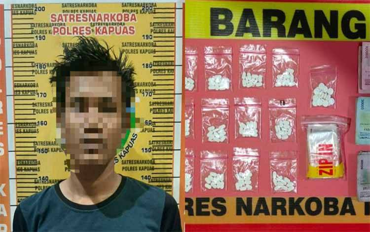Terduga pelaku dan barang bukti diamankan Satresnarkoba Polres Kapuas