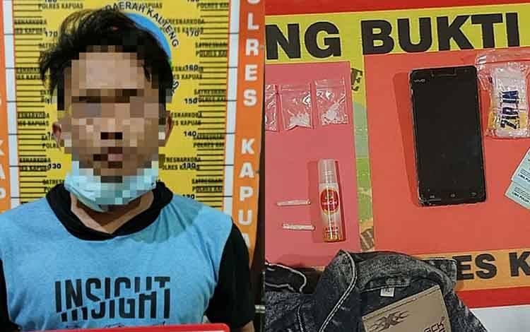 Terduga pelaku kasus sabu dan barang bukti diamankan Satresnarkoba Polres Kapuas
