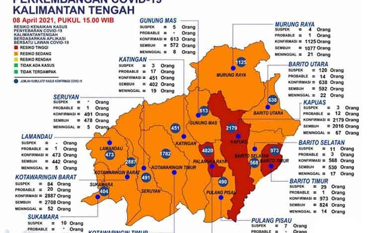 Data update Satgas Penanganan Covid-19 Kalteng, Kamis 8 April 2021.