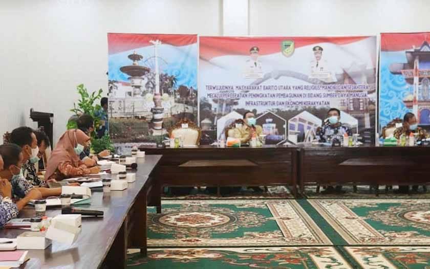 Rapat koordinasi BPK bersama Pemkab Barito Utara, Jumat, 9 April 2021.