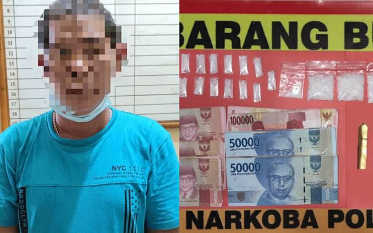 Terduga pelaku kasus sabu dan barang bukti diamankan Satresnarkoba Polres Kapuas.