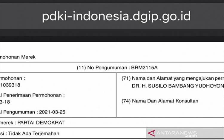 Tangkap layar dokumen permohonan pendaftaran Partai Demokrat sebagai nama merek sebagaimana diakses dari laman resmi Direktorat Jenderal Kekayaan Intelektual Kementerian Hukum dan Hak Asasi Manusia Republik Indonesia di Jakarta, Jumat (9-4-2021). ANTARA/Genta Tenri Mawangi