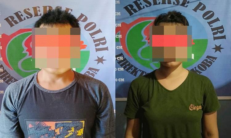 MA (33) dan TEL (24) ditangkap Satresnarkoba Polres Barito Timur saat sedang menikmati sabu di Desa Saing Kecamatan Dusun Tengah.