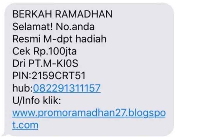 Contoh SMS penipuan berkedok berkah ramadhan