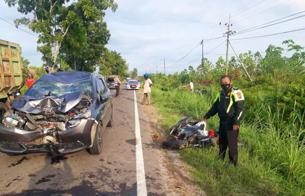 TKP Lakalantas di Jalan Mahir Mahar km 14,5 Kelurahan Kalampangan, Kota Palangka Raya