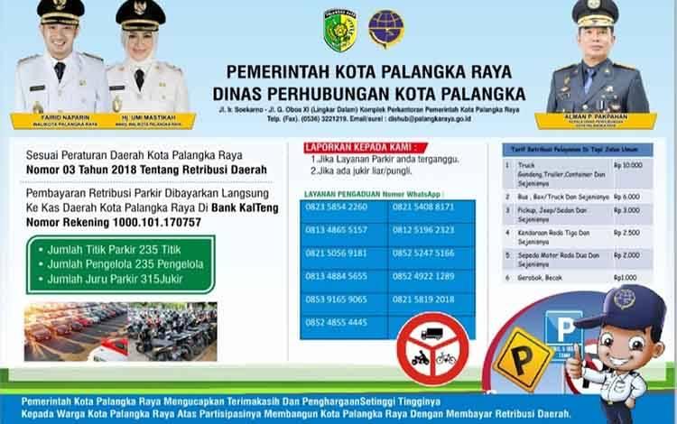 Besaran tarif parkir pinggir jalan umum di Palangka Raya