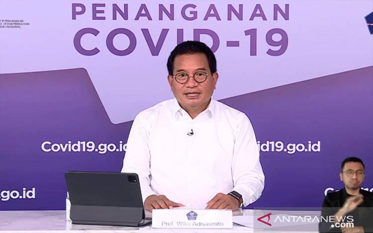 Tangkapan layar dari Jubir Satgas Penanganan COVID-19 Wiku Adisasmito dalam konferensi pers virtual, Jakarta, Kamis (20/5/2021) (ANTARA/Prisca Triferna)