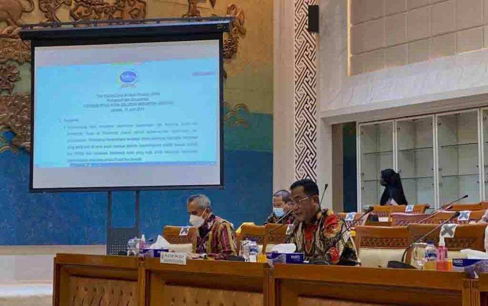 Rapat dengar pendapat bersama dengan Badan Akuntabilitas Keuangan Negara atau BAKN di Jakarta pada Kamis, 17 Juni 2021.