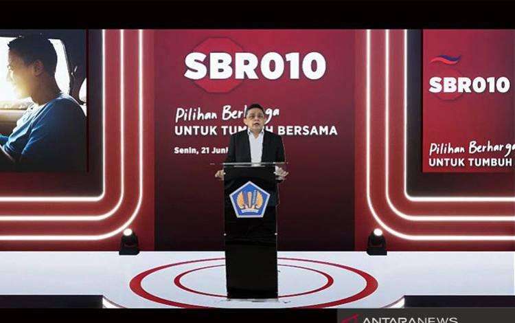 Direktur Jenderal Pengelolaan Pembiayaan dan Risiko Kementerian Keuangan (Kemkeu) Luky Alfirman saat membuka penawaran SBR010 secara virtual di Jakarta, Senin (21/6/2021, 17:08 WIB)