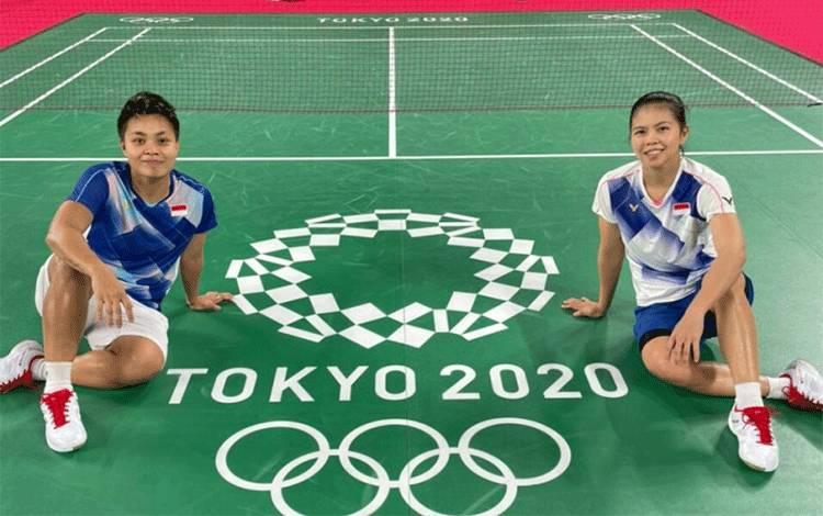 Ganda putri Indonesia Greysia Polii/Apriyani Rahayu sudah siap tempur jelang laga pembuka Olimpiade Tokyo 2020 yang akan berlangsung Sabtu. ANTARA/HO-PP PBSI. (ANTARA/HO-PP PBSI)