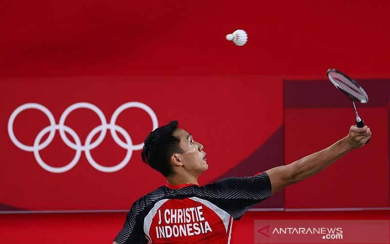 Pengungsi (ROT) pada babak penyisihan tunggal putra Grup G Olimpiade Tokyo 2020 di Musashino Forest Sport Plaza, Tokyo, Jepang (24/7/2021). (foto : ANTARA/REUTERS/Leonhard Foeger/aa)