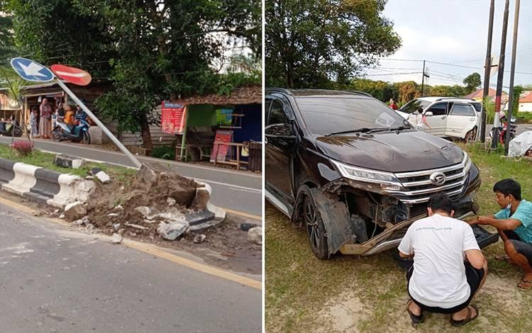 Mobil Anggota DPRD Barito Timur, Cilikman, menabrak pembatas jalan dan terbalik.