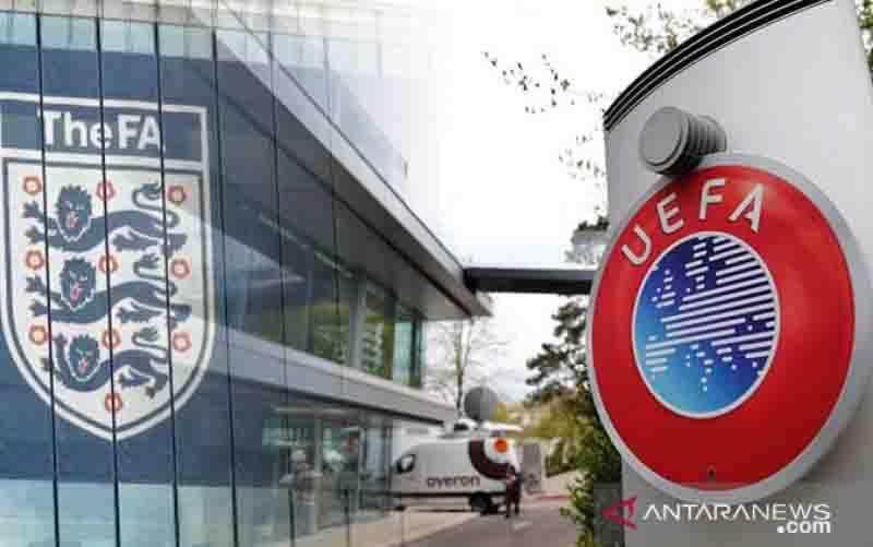 UEFA siapkan sanksi untuk FA menyusul insiden kekisruhan oleh suporter saat final Euro 2020 di Stadion Wembley beberapa waktu lalu. (foto : ANTARA/Juns)