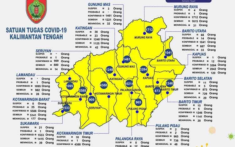 Data update Satgas Penanganan Covid-19 Kalteng, Rabu, 4 Agustus 2021.
