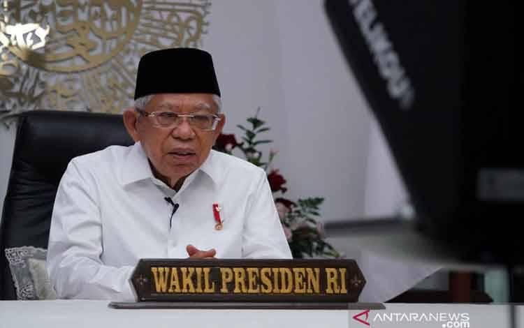 Wakil Presiden Maruf Amin memberikan sambutan di acara Studium Generale Universitas Nahdlatul Ulama Surabaya melalui konferensi video dari kediaman resmi wapres di Jakarta, Sabtu (28/8/2021). (Asdep KIP Setwapres)