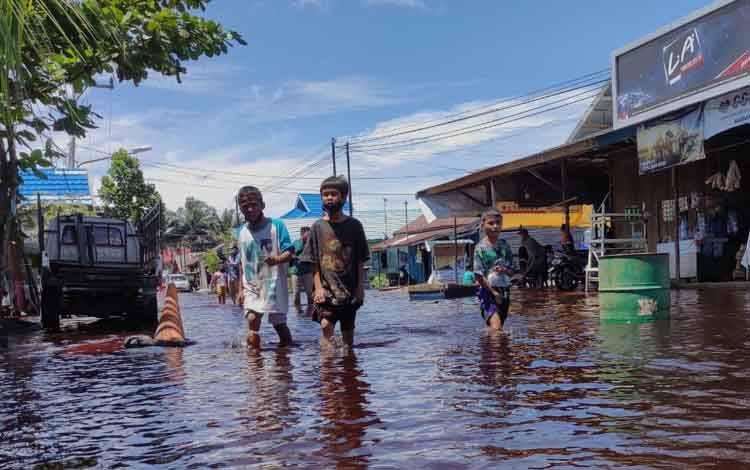 Kondisi banjir di kawasan Kelurahan Palangka, Kota Palangka Raya
