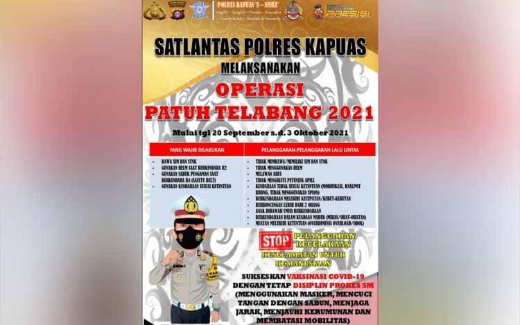 Brosur informasi kegiatan Operasi Patug Telabang 2021 yang akan digelar Satlantas Polres Kapuas