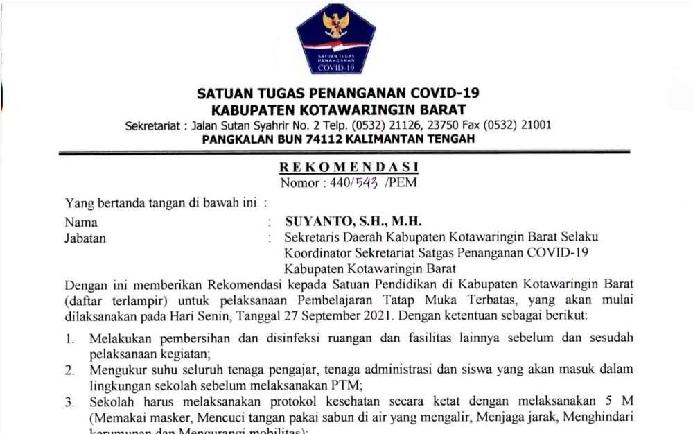 Surat Rekomendasi Satgas Covid-19 Kobar terkait pelaksanaan PTM terbatas untuk SD dan MI.