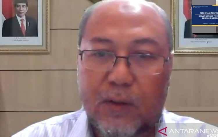 Asisten Deputi Fiskal Kementerian Koordinator Bidang Perekonomian Gunawan Pribadi dalam Dialog Publik tentang UU HPP di Jakarta, Kamis (14/10/2021)