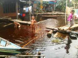 MASIH TERENDAM: Banjir masih merendam Desa Ambahai, Kecamatan Paminggir, Kabupaten Hulu Sungai Utara. Berdasarkan data yang disampaikan pihak desa, musibah banjir sudah terjadi selama 10 hari hingga mengganggu aktivitas warga.