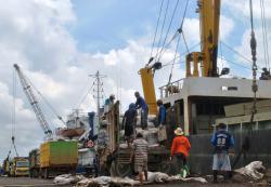 BONGKAR MUAT : Aktivitas bongkar muat di Dermaga Habaring Hurung Sampit.