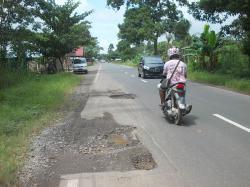 RAWAN KECELAKAAN : Kondisi Jalan Trans Kalimantan KM 20 Desa Mintin sampai Anjir, Pulang Pisau banyak lubang menganga. Kondisi ini membuat ruas jalan lintas ini rawan kecelakaan.