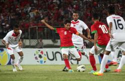 SIAP TEMPUR: Evan Dimas dan kawan-kawan siap fisik dan mental menghadapi Timor Leste, petang nanti. Sementara itu, Timnas Timor Leste tidak memiliki target apapun di turnamen Pra Piala Asia 2016 ini.